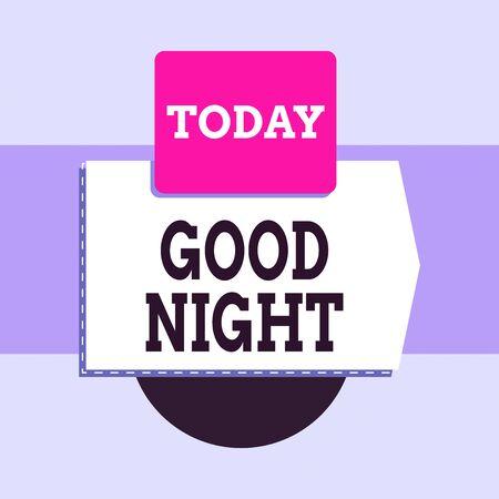 Znak tekstowy pokazujący dobranoc. Biznesowe zdjęcie tekstowe wyrażające dobre życzenia na rozstanie w nocy lub przed pójściem spać Pusty transparent prostokątny kwadrat nad półkolem w dół Geometryczne tło