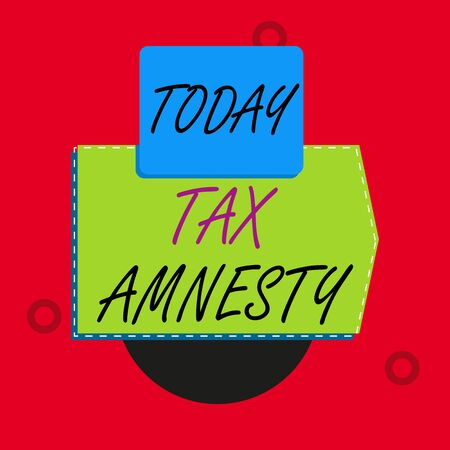 Text sign showing Tax Amnesty. Business photo text limitedtime opportunity for specified group of taxpayers to pay Blank banner rectangle square above semicircle down Geometrical background Stock fotó