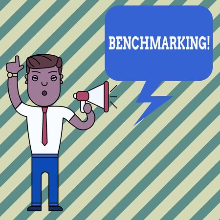 Word writing text Benchmarking. Business photo showcasing evaluate something by comparison with standard or scores Man Standing with Raised Right Index Finger and Speaking into Megaphone Zdjęcie Seryjne