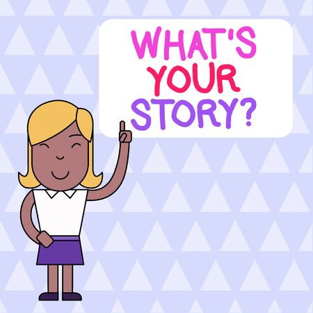 Word writing text What S Is Your Story question. Business photo showcasing being asked by someone about my own journey from beginning till now Woman Standing with Raised Left Index Finger Pointing at Blank Text Box