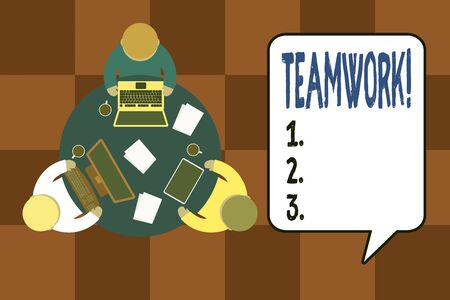 Handwriting text writing Teamwork. Conceptual photo combined action of group especially when effective and efficient Working round table male employees electronic devices documents coffee cup