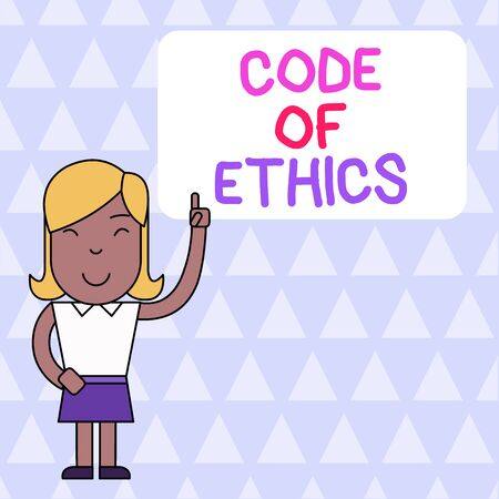 Word writing text Code Of Ethics. Business photo showcasing basic guide for professional conduct and imposes duties Woman Standing with Raised Left Index Finger Pointing at Blank Text Box