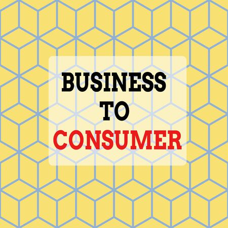 Text sign showing Business To Consumer. Business photo showcasing Direct Transaction between a Company and end users Seamless Blue Blocks Cubes Yellow Background Depth Deepness Perspective 스톡 콘텐츠