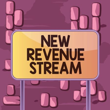 Word writing text New Revenue Stream. Business photo showcasing Additional Enhanced Source of Income Improved Approach Board ground metallic pole empty panel plank colorful backgound attached Stock Photo