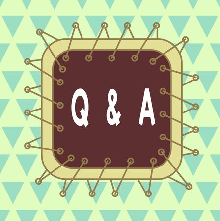 Word writing text Q And A. Business photo showcasing defined as questions being asked and answers Asymmetrical uneven shaped format pattern object outline multicolour design Banco de Imagens