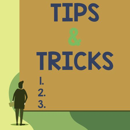Writing note showing Tips And Tricks. Business concept for Steps Lifehacks Handy advice Recommendations Skills Back view young woman watching blank big rectangle