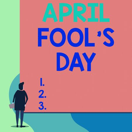 Writing note showing April Fool S Day. Business concept for Practical jokes humor pranks Celebration funny foolish Back view young woman watching blank big rectangle 스톡 콘텐츠