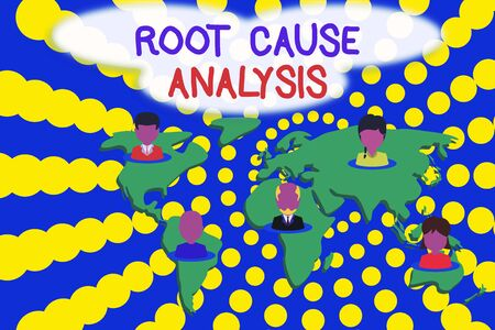 Word writing text Root Cause Analysis. Business photo showcasing Method of Problem Solving Identify Fault or Problem Connection multiethnic persons all over world. Global business earth map