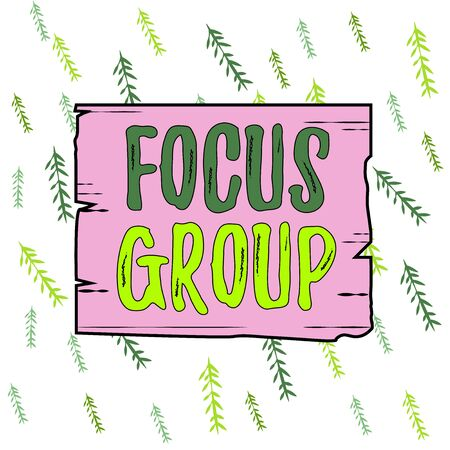 Handwriting text Focus Group. Conceptual photo showing assembled to participate in discussion about something Wooden square plank empty frame slots grooves wood panel colored board lumber