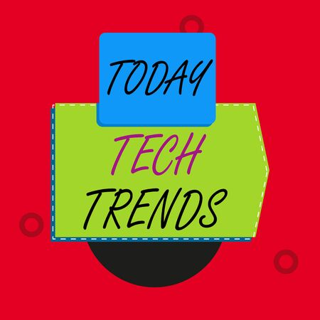 Text sign showing Tech Trends. Business photo text technology that is recently becoming popular and accepted Blank banner rectangle square above semicircle down Geometrical background Foto de archivo