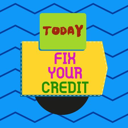 Writing note showing Fix Your Credit. Business concept for Keep balances low on credit cards and other credit Electronic device with non symmetrical triangle for printing