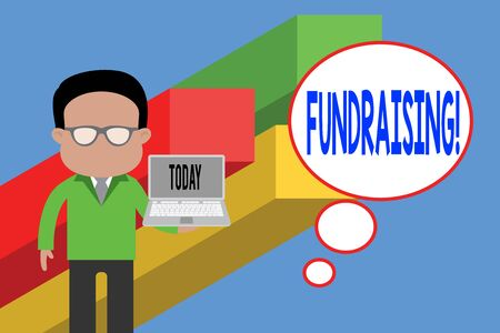 Writing note showing Fundraising. Business concept for seeking to generate financial support for charity or cause Standing man in suit wearing eyeglasses holding open laptop photo Art Banco de Imagens