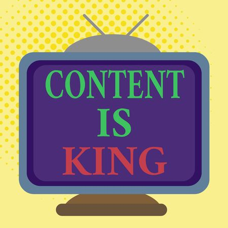 Word writing text Content Is King. Business photo showcasing words what sells products and provide good marketing Square rectangle old multicoloured painting television picture wood design