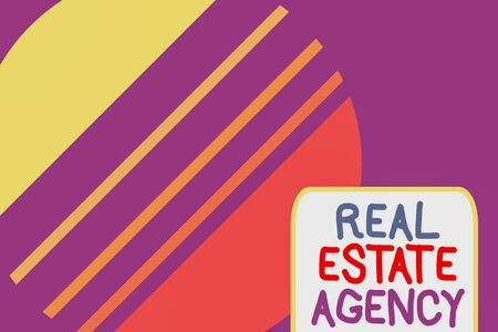 Conceptual hand writing showing Real Estate Agency. Concept meaning Business Entity Arrange Sell Rent Lease Manage Properties Cosmic planet pattern design paper cut Circle Background Stockfoto