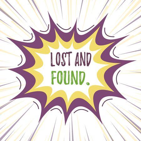 Signo de texto mostrando objetos perdidos y encontrados. Foto y texto de negocios un lugar donde los artículos perdidos se almacenan hasta que recuperan el diseño multicolor de contorno de objeto de patrón de formato asimétrico desigual
