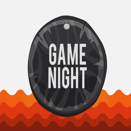 Conceptual hand writing showing Game Night. Concept meaning event in which folks get together for the purpose of getting laid Oval plank round wooden board circle shaped wood background Imagens