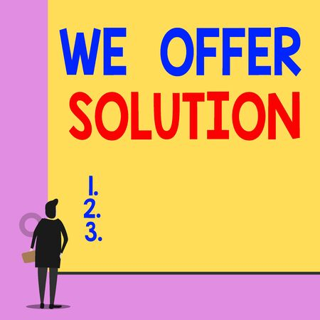 Text sign showing We Offer Solution. Business photo showcasing Provide products or services aim to meet a particular need Back view young woman watching blank big rectangle. Geometrical background Banco de Imagens