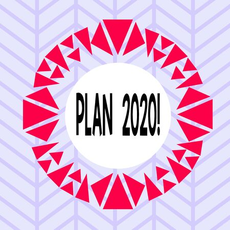 Text sign showing Plan 2020. Business photo showcasing detailed proposal doing achieving something next year Asymmetrical uneven shaped format pattern object outline multicolour design Foto de archivo