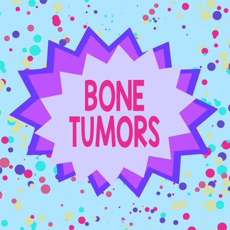 Text sign showing Bone Tumors. Business photo showcasing can be either benign or malignant growths found in the bone Asymmetrical uneven shaped format pattern object outline multicolour design