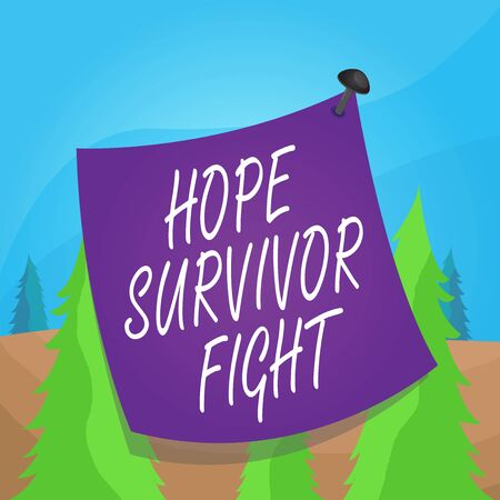 Word writing text Hope Survivor Fight. Business photo showcasing stand against your illness be fighter stick to dreams Curved reminder paper memo nailed colorful surface stuck blank pin frame