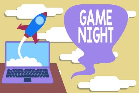 Handwriting text Game Night. Conceptual photo event in which folks get together for the purpose of getting laid Successful rocket launching clouds out laptop background. Startup growing Banco de Imagens