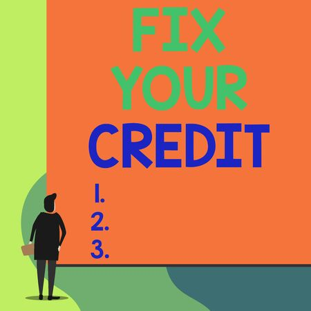 Writing note showing Fix Your Credit. Business concept for Keep balances low on credit cards and other credit Back view young woman watching blank big rectangle Stockfoto