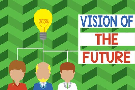 Word writing text Vision Of The Future. Business photo showcasing Seeing something Ahead a Clear Guide of Action Group three executive persons sharing idea icon. Startup team meeting Stok Fotoğraf