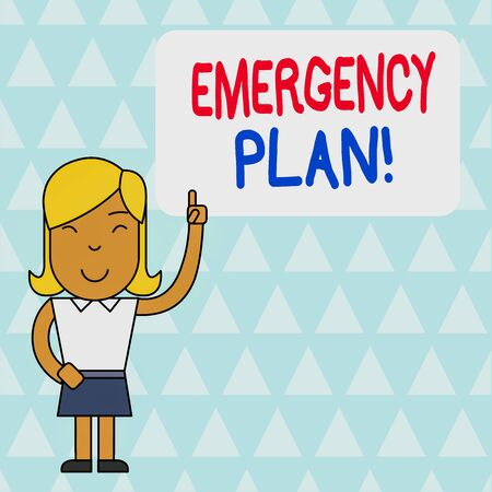 Word writing text Emergency Plan. Business photo showcasing actions developed to mitigate damage of potential events Woman Standing with Raised Left Index Finger Pointing at Blank Text Box Stock Photo