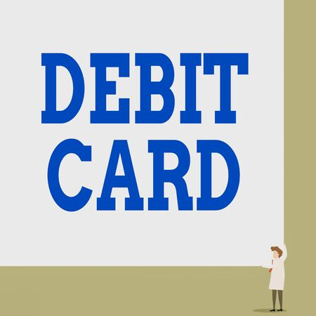 Text sign showing Debit Card. Business photo showcasing card that deducts money directly from a demonstrating s is checking account Front view young woman holding two hands right corner big blank rectangle Stock fotó