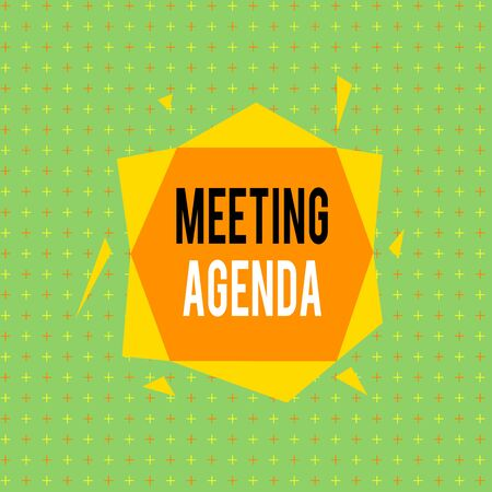 Text sign showing Meeting Agenda. Business photo showcasing items that participants hope to accomplish at a meeting Asymmetrical uneven shaped format pattern object outline multicolour design Stockfoto