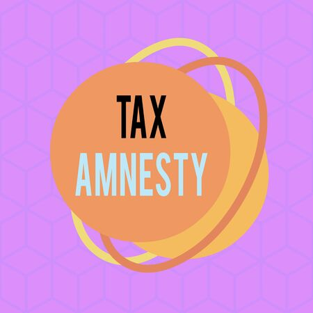 Conceptual hand writing showing Tax Amnesty. Concept meaning limitedtime opportunity for specified group of taxpayers to pay Asymmetrical format pattern object outline multicolor design