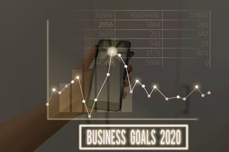 Conceptual hand writing showing Business Goals 2020. Concept meaning Advanced Capabilities Timely Expectations Goals Stock Photo