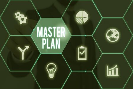 Writing note showing Master Plan. Business concept for dynamic longterm planning document Comprehensive plan of action