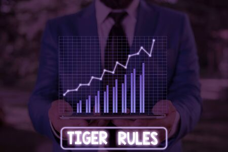 Conceptual hand writing showing Tiger Rules. Concept meaning Willpower and demonstratingal strength Resistance to imperial rule