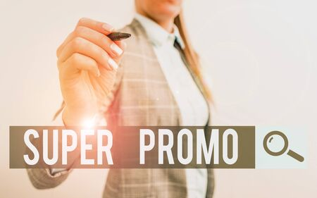 Handwriting text writing Super Promo. Conceptual photo piece of publicity or advertising in the form of a short film Business woman pointing in empty space with pen Stock fotó