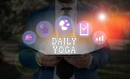 Word writing text Daily Yoga. Business photo showcasing series of Yoga workouts to train different parts of your body