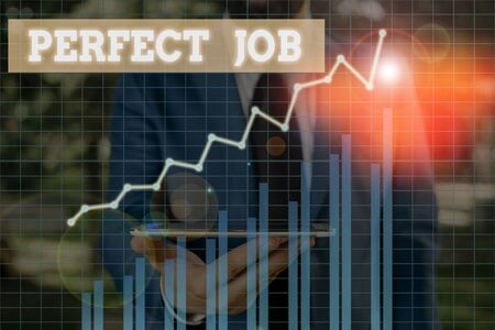 Word writing text Perfect Job. Business photo showcasing a job that brings you satisfaction and recognize your importance