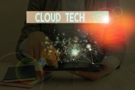 Word writing text Cloud Tech. Business photo showcasing storing and accessing data and programs over the Internet