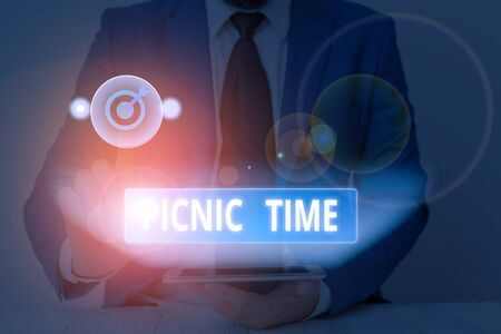 Text sign showing Picnic Time. Business photo showcasing period where meal taken outdoors as part of an excursion