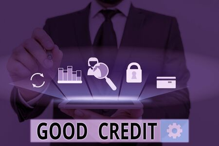 Handwriting text Good Credit. Conceptual photo borrower has a relatively high credit score and safe credit risk 版權商用圖片
