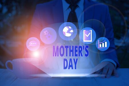 Word writing text Mother S Day. Business photo showcasing a celebration honoring the mother of the family or motherhood 写真素材