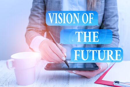 Writing note showing Vision Of The Future. Business concept for Seeing something Ahead a Clear Guide of Action Business concept with mobile phone in the hand