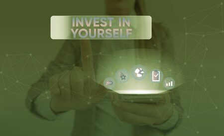 Word writing text Invest In Yourself. Business photo showcasing Improve your Skills take courses Do masters Scholarship