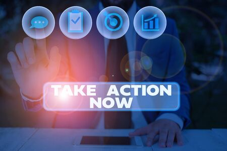 Conceptual hand writing showing Take Action Now. Concept meaning asking someone to start doing Good perforanalysisce Encourage Stock Photo - 134415455