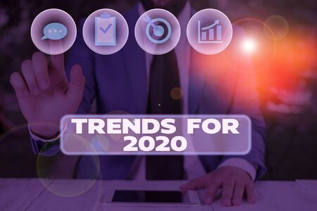 Conceptual hand writing showing Trends For 2020. Concept meaning list of things that got popular very quickly in this year Stock Photo - 134415472