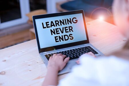 Text sign showing Learning Never Ends. Business photo text Life Long Educational and Wellness Opportunities woman laptop computer smartphone mug office supplies technological devices