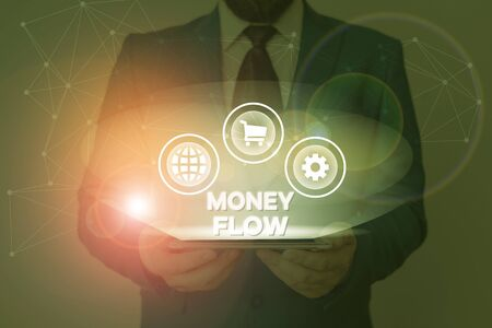 Text sign showing Money Flow. Business photo showcasing the increase or decrease in the amount of money a business