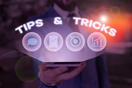 Word writing text Tips And Tricks. Business photo showcasing Steps Lifehacks Handy advice Recommendations Skills
