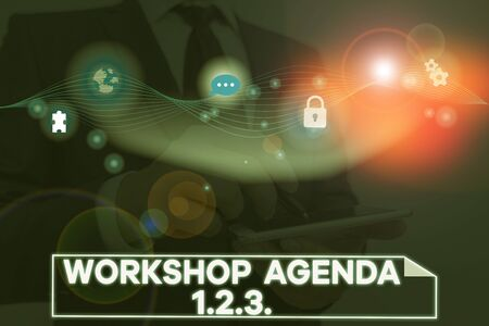 Conceptual hand writing showing Workshop Agenda 123. Concept meaning help to ensure that Event Stays on Schedule