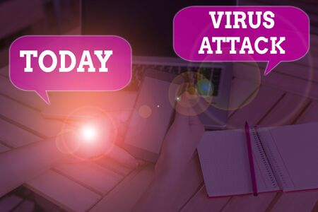 Writing note showing Virus Attack. Business concept for malicious program that perform actions unauthorized by the user